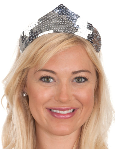 SILVER 1 point Sequin Tiara