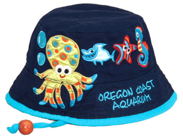 TOT COTTON BUCKET W/EMBROIDERED SEA LIFE