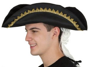 COLONIAL TRICORNE WITH GOLD TRIM AND WIG