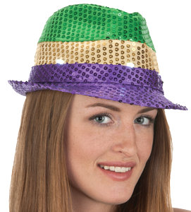 SEQUIN MARDI GRAS LIGHT-UP FEDORA