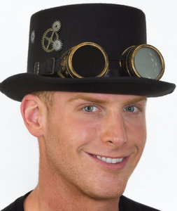 BLACK STEAMPUNK TOP HAT W/GOGGLES