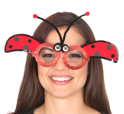 GLITTER LADY BUG GLASSES